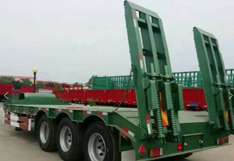 Low Price Sale China 40 Ton 3 Axle Low Bed Truck Trailer